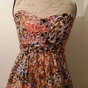 Strapless mini dress, floral, boutique, medium